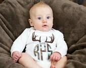 Antler Monogram Shirt, Camo Monogram Shirt, Boys Monogram Shirt, Personalized Shirt, Boys Shirt, Bodysuit