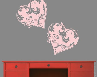 Wall Decals FLORAL HEARTS wall stickers removable vinyl art by Decals Murals Set of two 15x13