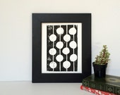 Black and White Mid Century Modern Linocut Print Dots 8x10