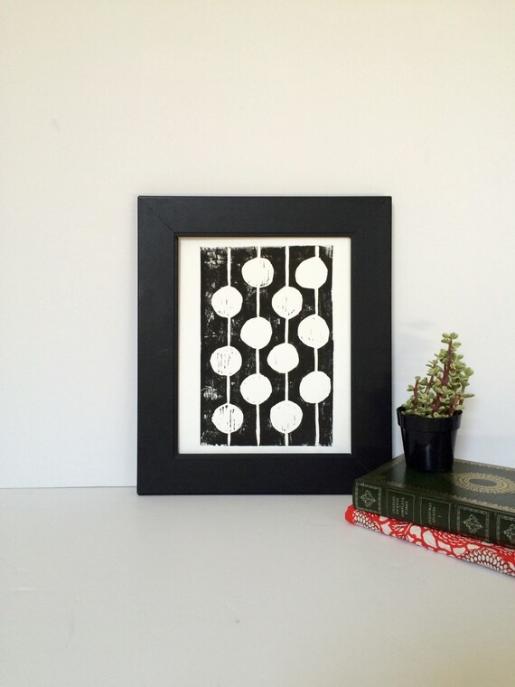 Black and White Mid Century Modern Linocut Print Dots 8x10