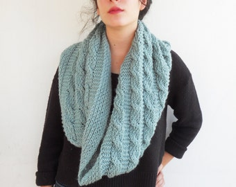Turquoise circle women fashion scarf-unisex scarves-hand knit eternity scarf-loop infinty scarf-large plait braid pattern-winter fashion-