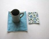 fabric mug rug - teal trivets - set of 2x - hostess gift - shabby home decor - hostess gift