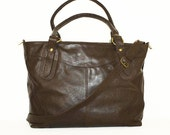 "Dark Brown Leather Tote Bag Handbag // Leather Cross-body Bag // Leather Laptop Bag // Nora Bis L fits a 15"" laptop"