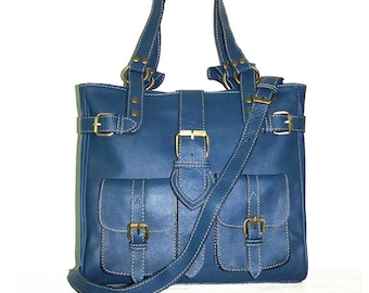 Leather Bag Handbag Shoulder Crossbody Purse Orea M in Cerulean blue