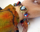Unusual lampwork beaded bracelet evil eye jewelry voodoo magic love destiny evil eye bracelet unusual FORTUNE TELLER bracelet vodou hoodoo