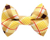"""Cat Bow Tie - """"The Pencil Pusher"""" -  Yellow Plaid Cat Bow Tie"""