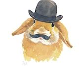 Bunny Rabbit Watercolor Print - Lop Eared Rabbit, 5x7 Illustration Print, Bowler Hat, Rabbit Watercolour
