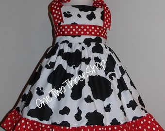 Cow red dot ribbon ties Custom Boutique Children Clothing Jumper Dress 12 Months to 6 Years