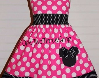 Minnie Mouse Dress Custom Boutique Clothing Med hot pink dot tiny band Sassy Girl dress