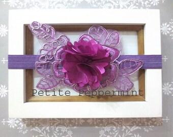 Purple Baby Headband, Baby Bow Headband, Baby Head Band, Baby Hair Bow, Toddler Headband, Little Girl Headband,Infant Headband
