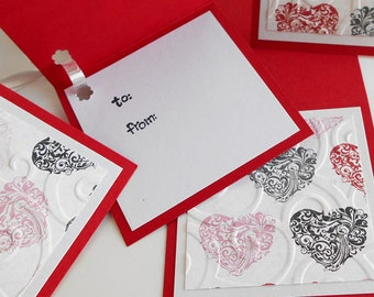 Valentine Gift Tags: Five Pack Set / Flip Open & Handmade - Fancy Face