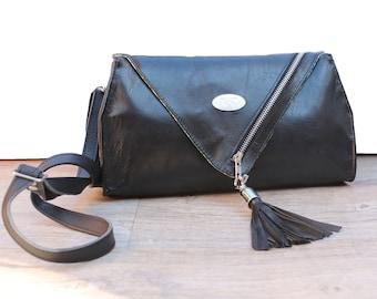 Black Leather Clutch. Cross Body Purse. Woman Handbag. Chic Purse w/ Adjustable Strap. Cinderella Clutch.