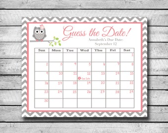 Guess the Date | Pink and Grey Owl | Baby Shower Game | Due Date Calendar | Digital File
