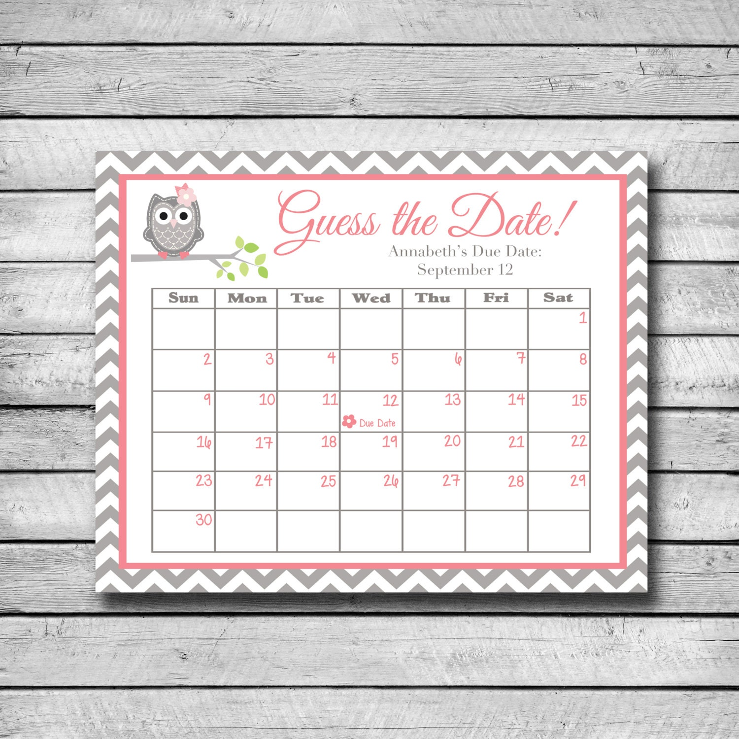 Infant Calendar Ideas : Guess the date pink and grey owl baby shower game due