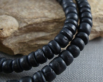Black Bead, Coconut Shell Bead, Black Rondelle Bead, 5mm Heishi Beads, 15 Inch Strand