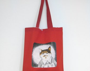 Red tote bag with an orange cat print