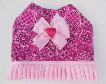 Pink Bandana Harness-Vest for Small Dog.