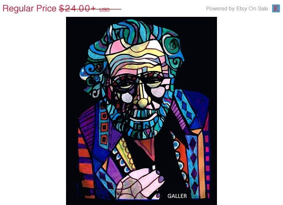 50% OFF - Charles Bukowski Art print poster Heather Galler Modern Abstract Portrait Famous Writer author