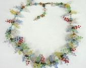 Vintage Lampwork Flowers Glass Floral Garden Party Necklace