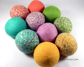 Wool Dryer Balls - Pastel Tweed - Set of 10 Eco Friendly - Can be Scented or Unscented