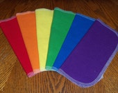 Cloth Baby Wipes, Reusable Cloth Wipes, Primary Rainbow, Flannel Cloth Baby Wipes, Wash Cloths, Napkins, Set of 24