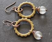 60% off Clearance// Avocado Green Ceramic Earrings//  Copper and Ceramic Earrings// Green Earrings