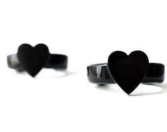 40% off with code SALE40! Black plastic heart bangle vintage