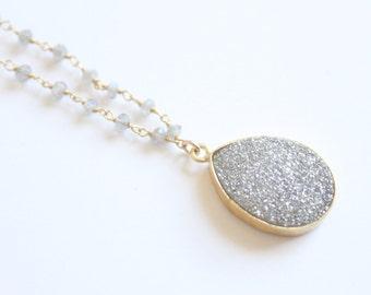 Sparkling Silver Druzy and Labradorite Necklace