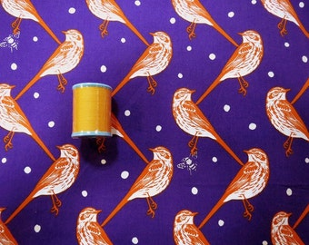 2014 Echino Fabric   Sparrow   Sateen  in Purple   Huedrawer  by  Estuko Furuya -  50cm