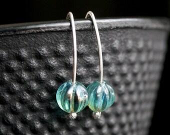 Simple aqua bead earrings, sterling silver, aqua blue, Czech glass, small, modern, Mimi Michele Jewelry