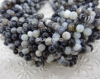 6mm round Natural Color Black White Stipe smooth round Agate beads in Full strand