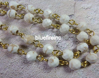 3 feet Natural Color White Howlite with 24k Gold Plated Cooper Wire Chain // Beaded Gemstone Jewelry Chain // Unfinished Chain