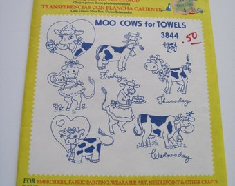 MOO COWS for TOWELS - Aunt Martha's Hot Iron Transfers - 3844 - Never Used