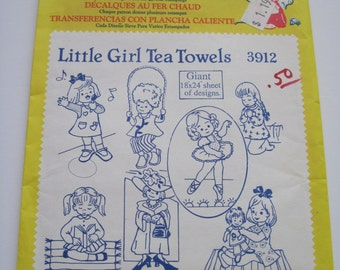 LITTLE GIRL TEA Towels - Aunt Martha's Hot Iron Transfers - 3912 - Never Used