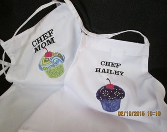 Aprons for Mother and Daughter- Matching- Appliqued Cupcakes-More Colors