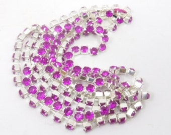 80cm silver  plated chain purple shtras  acrylic RHINESTONE
