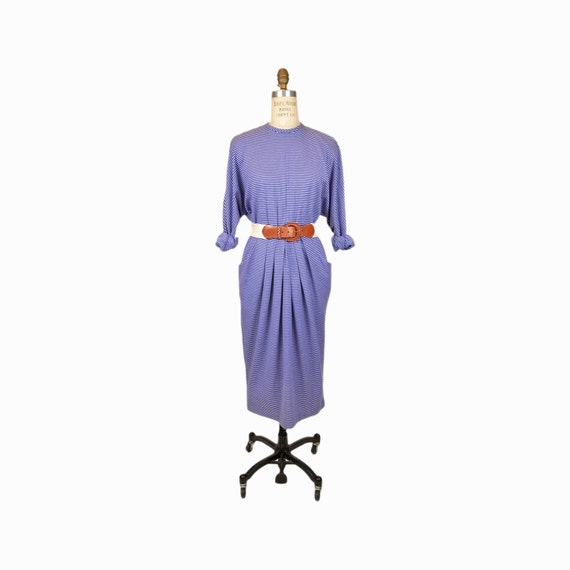 Vintage Blue Nautical Striped Dress / 80s Dolman Sleeve Dress / Yacht Club Dress - women's small