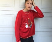 Cute Red Xmas Tree Holiday Ugly Christmas Sweater lightweight oversize pullover Large XL Men Women unisex