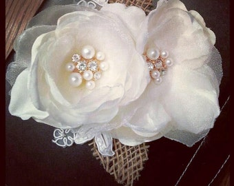 Rustic Vintage Floral Wedding Headpiece -- with burlap, lace and vintage accents
