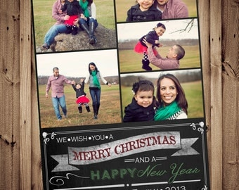 SAME DAY TURNAROUND Christmas Photo Card -- Custom Holiday Greeting Card  -- Chalkboard Typography -- Up to 7 pictures // 004