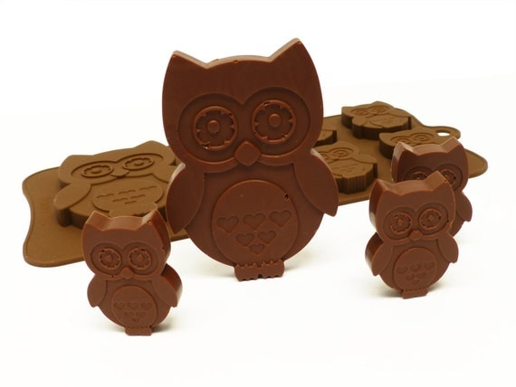 61 Owl Owls Retro Birds Novelty Chocolate Silicone Mould