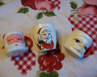 tiny trio of santa mugs