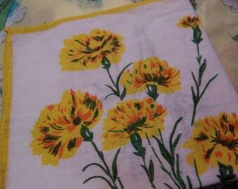 sweet yellow carnation vintage hanky