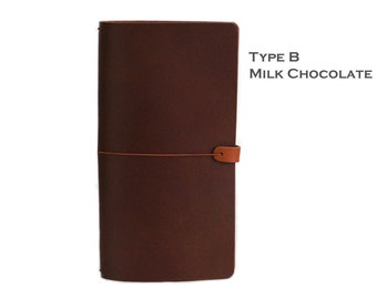 LEATHER COVER for Midori - Field notes - Molskine in Milk Chocolate
