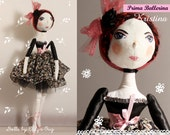 Made to order.Prima Ballerina Kristina.Handmade doll. Cloth doll.Romantic.Rose Ballerina nursery decor.
