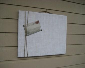 Burlap and Jute Twine Bulletin Board, Natural burlap Photo Memory Board, Memo Pin Board, Custom Larger Sized