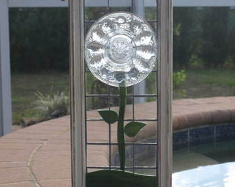 Stained Glass Mosaic Crystal Clear Plate Flower Federal Petal Window Repurpose Frame