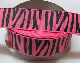 "1"" pink/black Zebra Printed Grosgrain Ribbon - 5 yards"