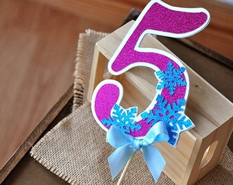 Frozen Birthday Party Decoration Handcrafted In 3 5 Business Days Number Cake Topper