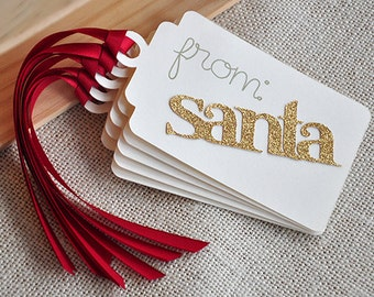 """Christmas Gifts Santa Tags. Handcrafted in 2-5 Business Days. Set of 5 """"from: santa"""" gift tags"""